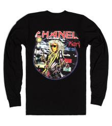 CHANEL X IRON MAIDEN KARL LAGERFELD BLACK LONG SLEEVED T-SHIRT