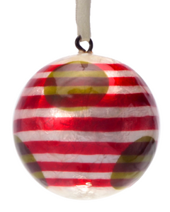 Santa's Red Stripes Made Painted Capiz Christmas Ornament