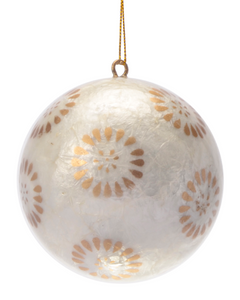 Golden Flora Hand Made Painted Capiz Christmas Ornament