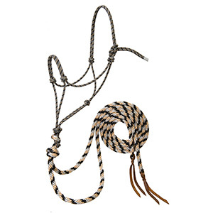 Silvertip Loping Rope Halter with 8' Split Reins Average by Weaver - Black/Tan/Silver