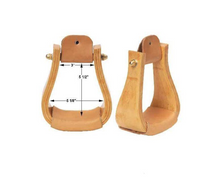 "3"" WOOD ROPER STIRRUP WITH LEATHER TREAD FOR WESTERN SADDLES"