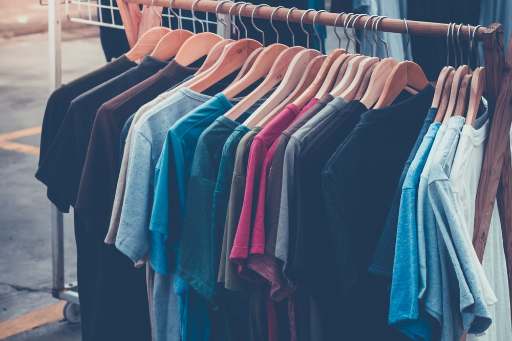 Plain t-shirts on a rack at Crackerjack Shack