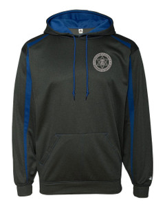 GCSO BADGE, SHERIFF SLEEVE & FLAG AT NAPE IN GREY - Two Tone Performance Hoodie - Charcoal/Royal