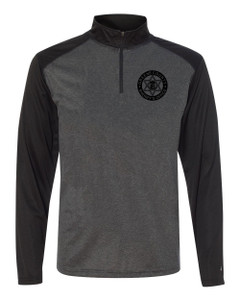 GCSO BADGE, SHERIFF SLEEVE & FLAG AT NAPE IN BLACK - Two Tone Quarter Zip Pullover - Carbon/Black