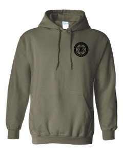 GCSO BADGE IN BLACK - Classic Heavy Weight Hoodie - Military Green