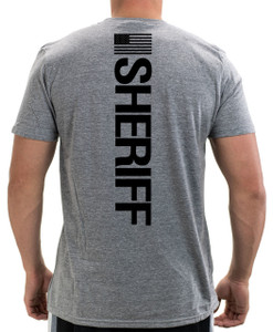 GCSO BADGE, FLAG & SHERIFF IN BLACK - Responsibly Crafted Triblend Tee - Aluminum Grey