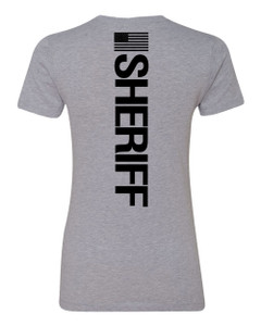 GCSO BADGE, FLAG & SHERIFF IN BLACK - Ladies V-Neck Responsibly Crafted Triblend Tee - Aluminum Grey