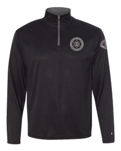 GCSO BADGE, SLEEVE PATCH & FLAG SHERIFF IN GREY - Performance Quarter Zip Pullover - Black