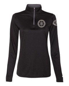 GCSO BADGE, SLEEVE PATCH & FLAG SHERIFF IN GREY - Ladies Performance Quarter Zip Pullover - Black
