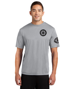 GCSO BADGE, SLEEVE PATCH & DEPUTY SHERIFF IN BLACK - Short Sleeved Performance Tee - Silver