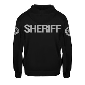 GCSO SLEEVE BADGE, SLEEVE PATCH & SHERIFF BACK IN GREY - Performance Fleece Hoodie - Black