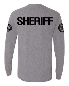 GCSO SLEEVE BADGE, SLEEVE PATCH & SHERIFF BACK IN BLACK - Classic Long Sleeve Tee - Graphite Heather