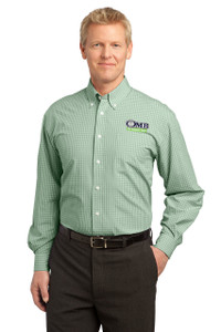 OMB Mens Port Authority Dress Plaid Pattern Easy Care Shirt