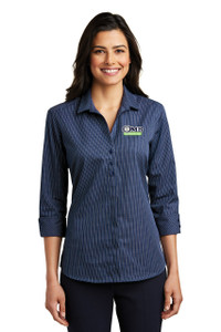 OMB Ladies Port Authority 3/4 Sleeve Micro Tattersall Easy Care Shirt