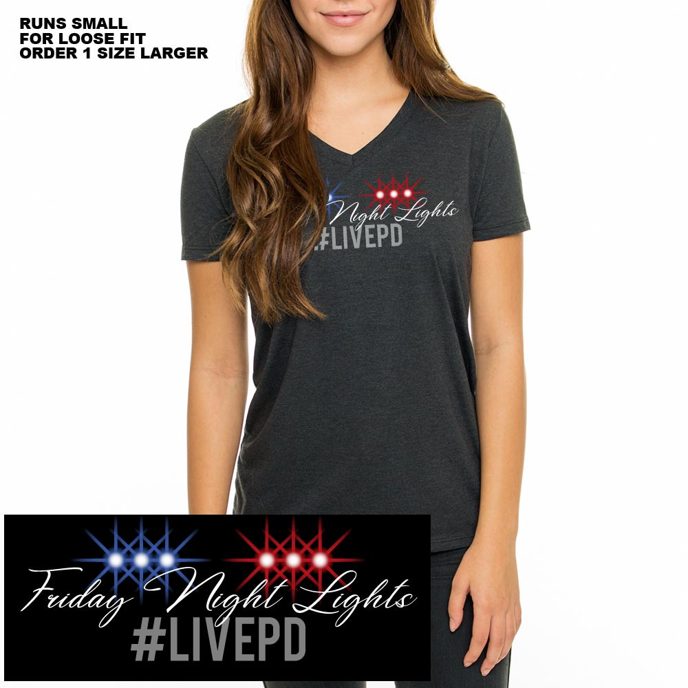 3fce4e73b08 GCSO Premium FRIDAY NIGHT LIGHTS Eco-Friendly LADIES V-Neck Tee - Space  Black