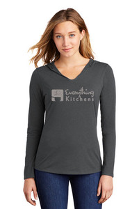 EVERYTHING KITCHENS - GREY - FULL FRONT LOGO - Triblend Long Sleeved Hooded LADIES Tee in Charcoal