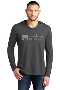 EVERYTHING KITCHENS - GREY - FULL FRONT LOGO - Triblend Long Sleeve Hooded Tee in Charcoal