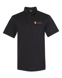 EVERYTHING KITCHENS - FULL COLOR EMBROIDERED LOGO - Modern Cadet Collar Polo - Black