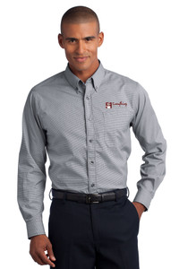 EVERYTHING KITCHENS - FULL COLOR EMBROIDERED LOGO - Mini Check No-Iron Shirt - Black
