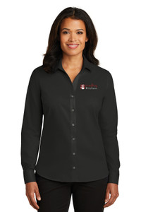 EVERYTHING KITCHENS - FULL COLOR EMBROIDERED LOGO - No-Iron Twill LADIES Shirt - Black