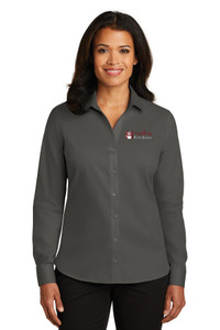 EVERYTHING KITCHENS - FULL COLOR EMBROIDERED LOGO - No-Iron Twill LADIES Shirt - Grey Steel