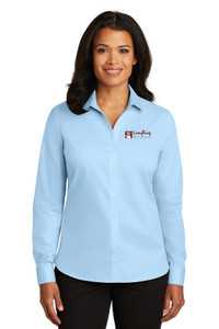 EVERYTHING KITCHENS - FULL COLOR EMBROIDERED LOGO - No-Iron Twill LADIES Shirt - Heritage Blue