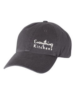 EVERYTHING KITCHENS - WHITE TEXT EMBROIDERY - Richardson Washed Chino Cap - Charcoal