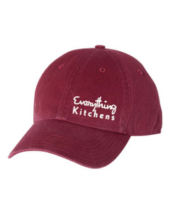 EVERYTHING KITCHENS - WHITE TEXT EMBROIDERY - Richardson Washed Chino Cap - Cardinal