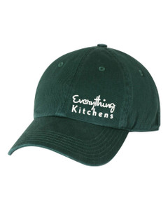 EVERYTHING KITCHENS - WHITE TEXT EMBROIDERY - Richardson Washed Chino Cap - Dark Green