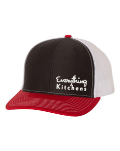 EVERYTHING KITCHENS - TEXT EMBROIDERY - Richardson Snap Back Trucker Cap - Black/White/Red