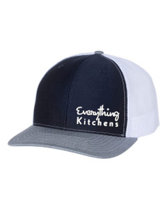 EVERYTHING KITCHENS - TEXT EMBROIDERY - Richardson Snap Back Trucker Cap - Navy/White/Heather Grey