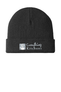 EVERYTHING KITCHENS - GREY/WHITE EMBROIDERED LOGO - Knit Cuffed Beanie - Black