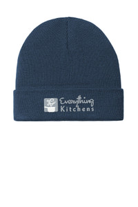 EVERYTHING KITCHENS - GREY/WHITE EMBROIDERED LOGO - Knit Cuffed Beanie - Dress Blue Navy