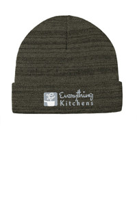 EVERYTHING KITCHENS - GREY/WHITE EMBROIDERED LOGO - Knit Cuffed Beanie - Olive Green Heather