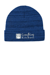 EVERYTHING KITCHENS - GREY/WHITE EMBROIDERED LOGO - Knit Cuffed Beanie - True Royal Heather