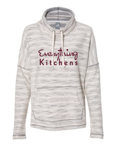 EVERYTHING KITCHENS - MERLOT FULL FRONT TEXT - Women's Baja French Terry Cowl Neck Pullover - Natural/Charcoal