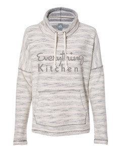 EVERYTHING KITCHENS - GREY FULL FRONT TEXT - Women's Baja French Terry Cowl Neck Pullover - Natural/Charcoal