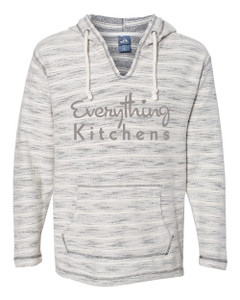 EVERYTHING KITCHENS - GREY FULL FRONT TEXT -  Baja French Terry V-Neck Pullover - Natural/Charcoal