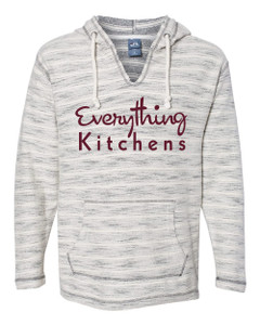 EVERYTHING KITCHENS - MERLOT FULL FRONT TEXT -  Baja French Terry V-Neck Pullover - Natural/Charcoal