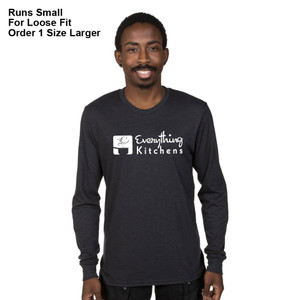 EVERYTHING KITCHENS - WHITE FULL FRONT LOGO - Eco-Friendly Tri-Blend Long Sleeve Tee - Space Black