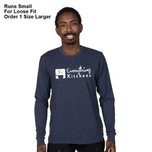 EVERYTHING KITCHENS - WHITE FULL FRONT LOGO - Eco-Friendly Tri-Blend Long Sleeve Tee - Rebel Blue
