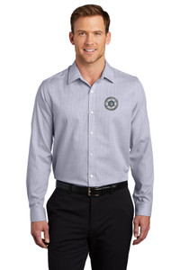 GCSO CHROME BADGE - Pincheck Pattern Easy Care Shirt - Gusty Grey/White
