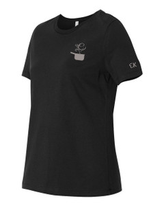 EVERYTHING KITCHENS - GREY - FLC PAN, BACK TEXT, SLEEVE EK - Super Soft LADIES RELAXED FIT Cotton Jersey Tee - Black