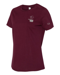 EVERYTHING KITCHENS - GREY - FLC PAN, BACK TEXT, SLEEVE EK - Super Soft LADIES RELAXED FIT Cotton Jersey Tee - Maroon