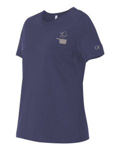 EVERYTHING KITCHENS - GREY - FLC PAN, BACK TEXT, SLEEVE EK - Super Soft LADIES RELAXED FIT Cotton Jersey Tee - Navy