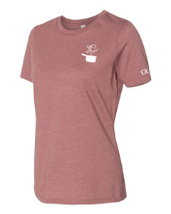 EVERYTHING KITCHENS - WHITE - FLC PAN, BACK TEXT, SLEEVE EK - Super Soft LADIES RELAXED FIT Cotton Jersey Tee - Heather Mauve