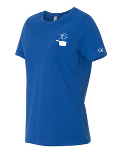 EVERYTHING KITCHENS - WHITE - FLC PAN, BACK TEXT, SLEEVE EK - Super Soft LADIES RELAXED FIT Cotton Jersey Tee - True Royal