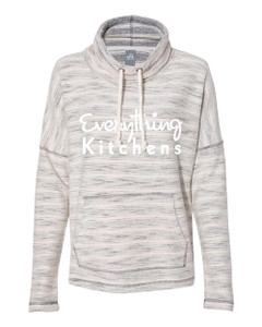 EVERYTHING KITCHENS - WHITE FULL FRONT TEXT - Women's Baja French Terry Cowl Neck Pullover - Natural/Charcoal