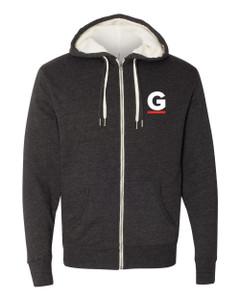 Gutterglove® FLC WHITE & RED G - Unisex Sherpa-Lined Hooded Sweatshirt - Charcoal Heather