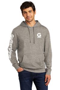 Gutterglove® FLC & SLEEVE WHITE G & WORDMARK - Premium Unisex Hoodie - Grey Frost